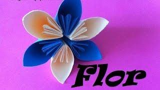 Origami - Papiroflexia. Flor de 6 pétalos, Regalo día de la Madre.