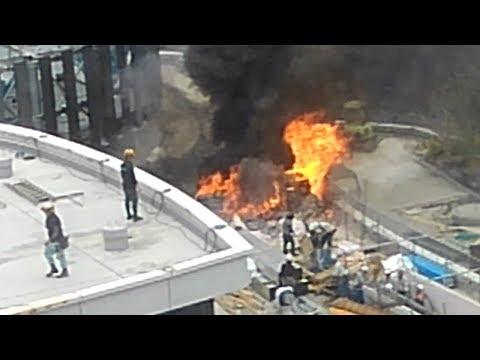 建設中の商業施設で火災、作業員避難 熊本中心部