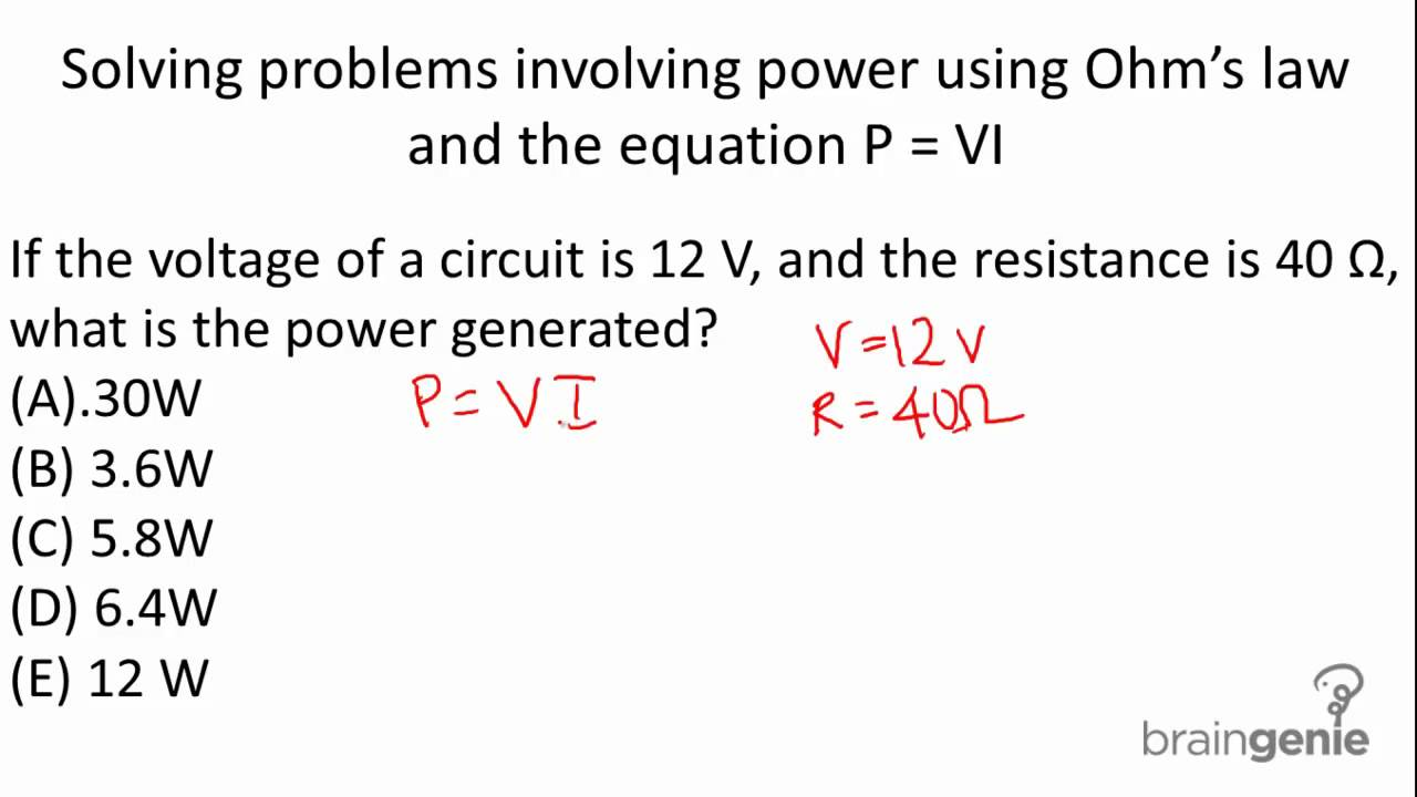 6 2 3 2 Solving Problems Involving Power Using Ohm S Law And The