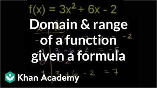 Domain and range of a function given a formula | Algebra II | Khan Academy thumbnail