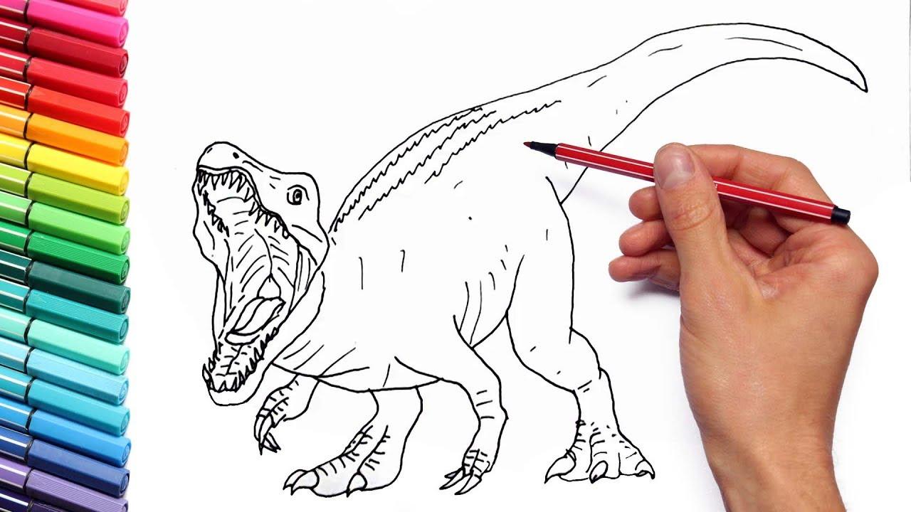How To Draw Jurassic World New Dinosaur Baryonyx Dinosaurs Color
