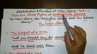 Identification & Function of Noun Clause ( Part-1)