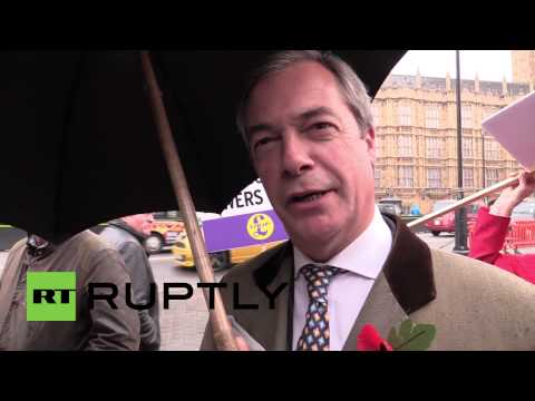 UK: Farage leads protest against European Arrest Warrant in Westminster