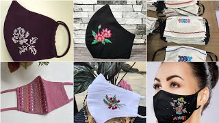 Beautiful and gorgeous cross stitch hand embroidery face mask designs and pattern for girls