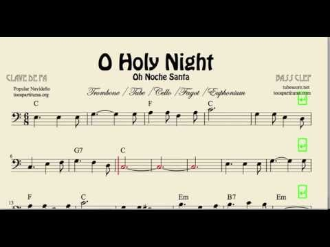 O Holy Night Sheet Music for Trombone Tube Euphonium Cello and Bassoon Christmas Carol