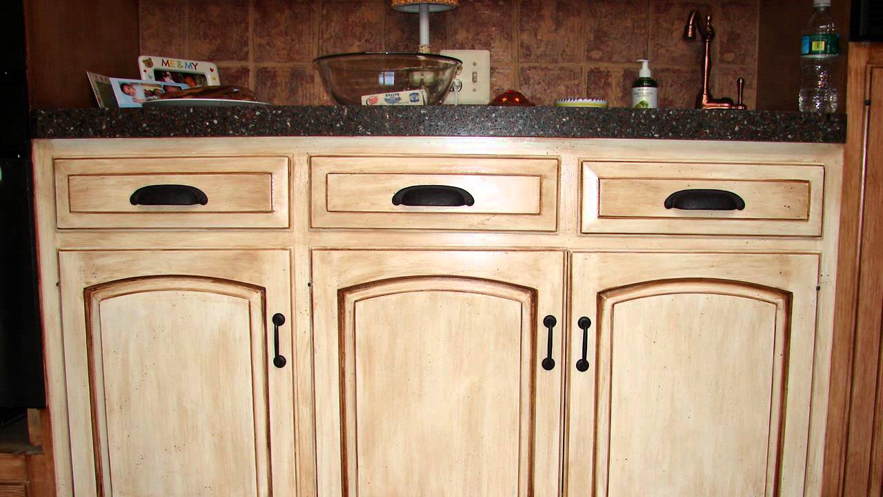 HOW TO : Distress Wood Cabinets - YouTube
