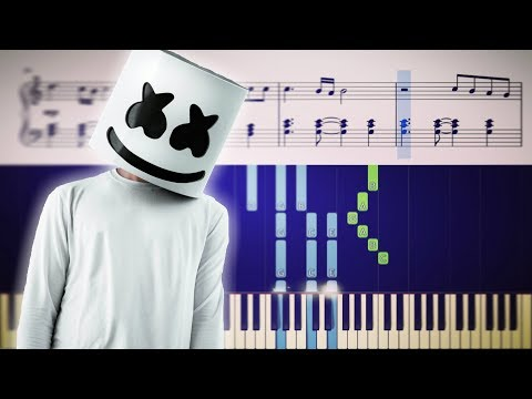Marshmello - Here With Me - Piano Tutorial + SHEETS
