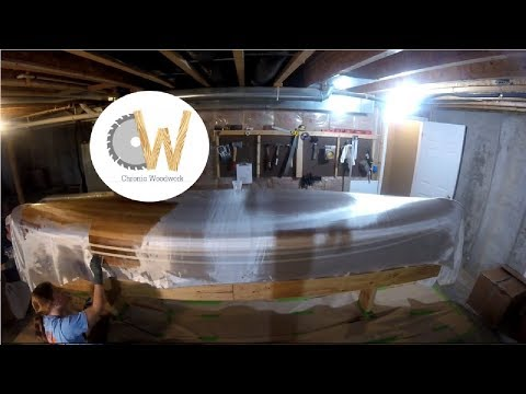 Cedar Strip Canoe Ep 8 - Fiberglassing the hull