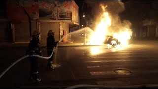 Drifting Car Crashes into Lamp Post, Catching Fire