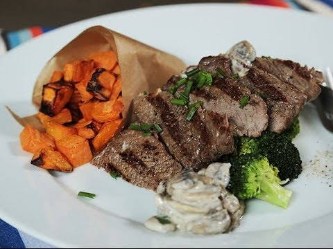 beef and mushroom topped potato wedges