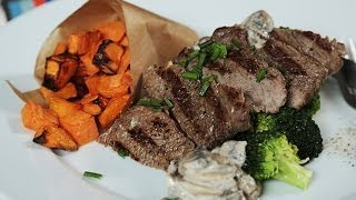 Beef With Mushroom Sauce and Sweet Potato Wedges