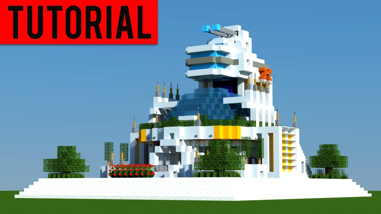 Minecraft: How To Build a FUTURISTIC Village / Modern House Tutorial [ How  to make ] 12