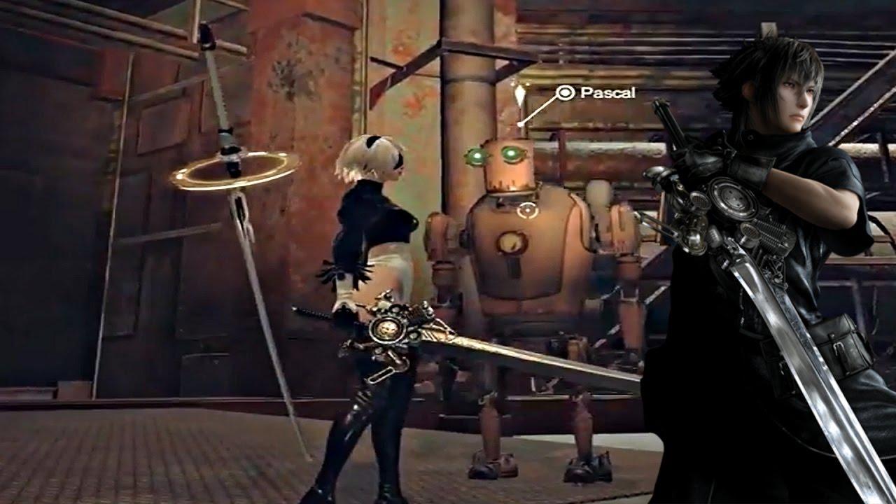 NieR Automata - Noctis Engine Blade & Location | Final Fantasy 15 Easter Egg - YouTube
