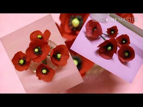 How to make easy poppy flower in creap paper