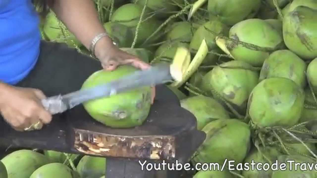 young coconut cutting thailand  youtube