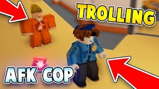 TROLLING AS AFK BACON HAIR COP IN JAILBREAK?! (Roblox Jailbreak)