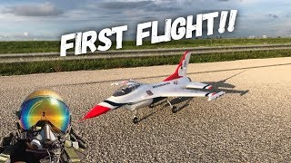 E Flite F 16 70mm MAIDEN FLIGHT!