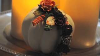 Altered Pumpkin and Handmade Floral Vine