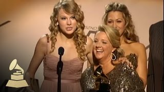 Taylor Swift accepting her first GRAMMY Award