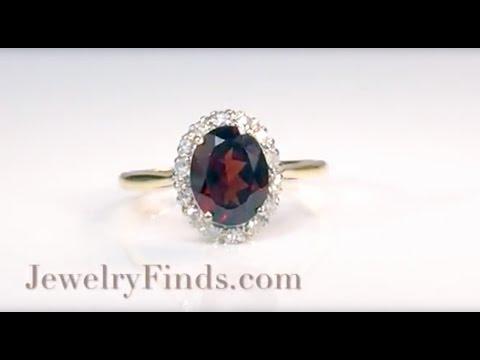 Vintage Garnet Diamond Ring Circa 1940's Diamond Halo Ring 18k Platinum