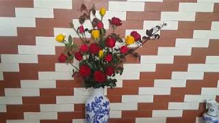 cách cắm lọ lục bình hoa hồng đơn giản đẹp.