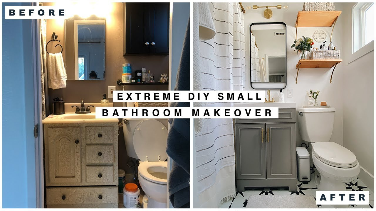 Extreme Small Bathroom Makeover Youtube