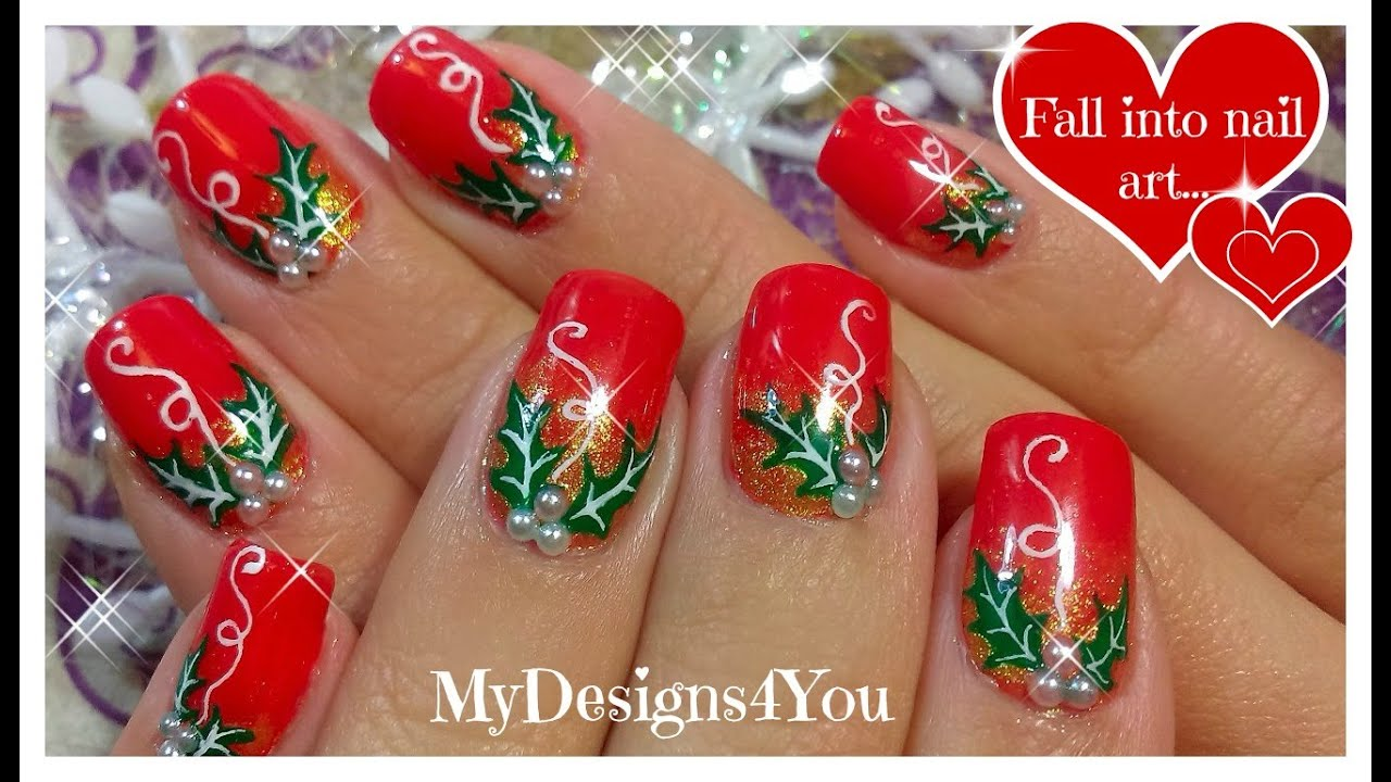 Christmas Nail Art | Red Holly Christmas Nails ...