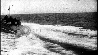 A patrol boat uses torpedo to strike a destroyer in sea warfare during World War ...HD Stock Footage
