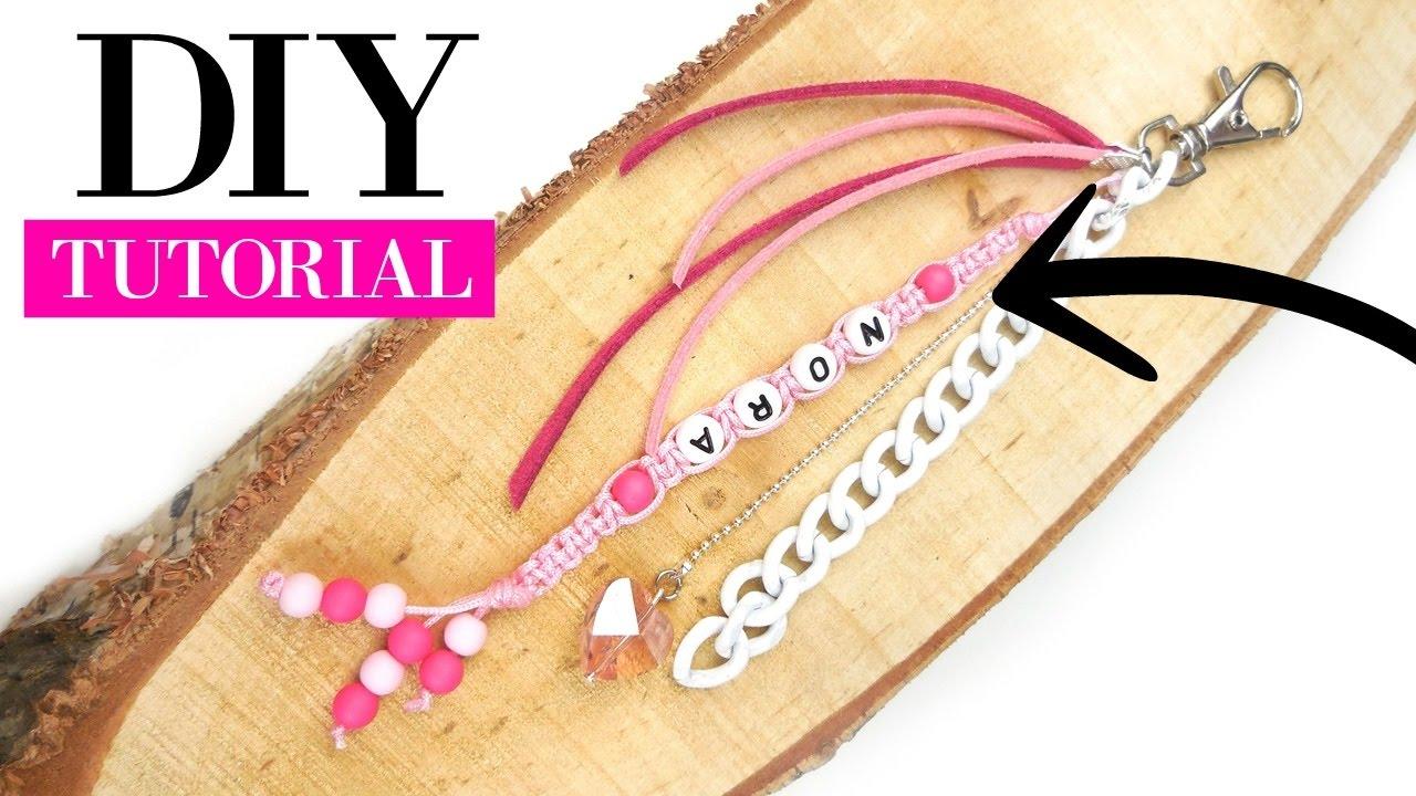 macrame keychain with beads