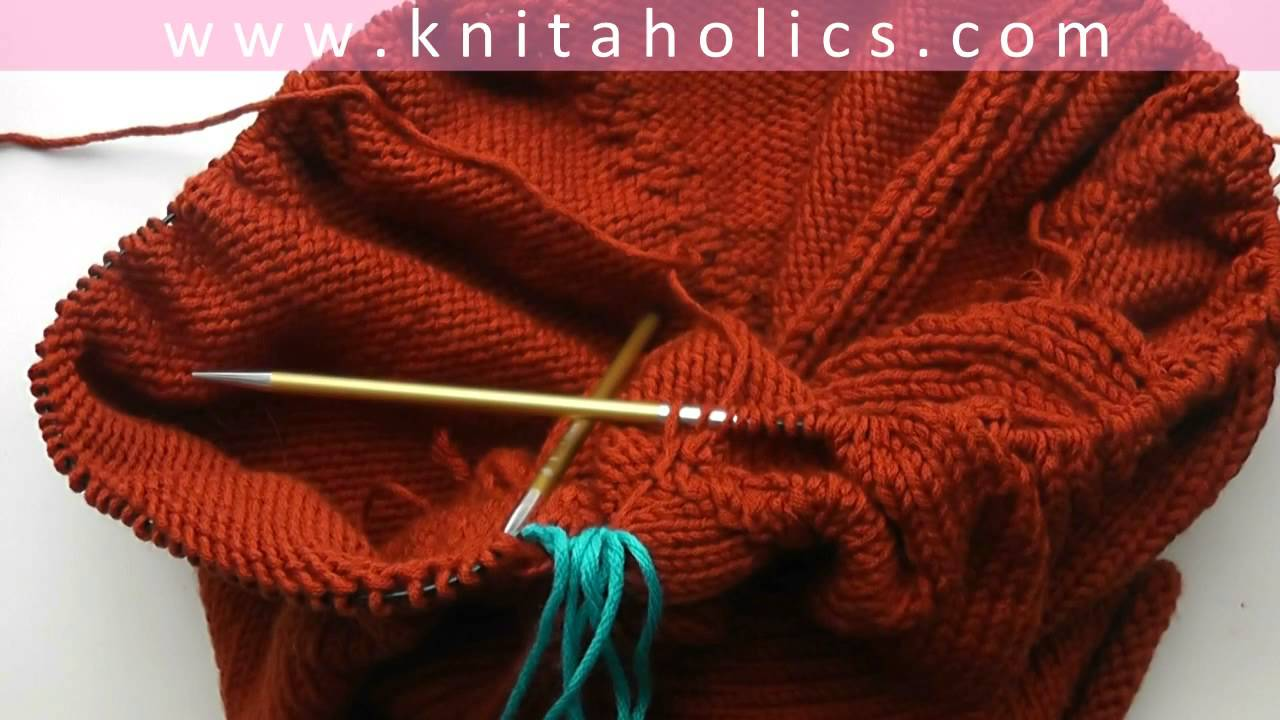 Knitting Put Stitches On Holder : Knit with eliZZZa * Raglan Sweater Top Down * Video #04 * Put Sleeve Stitches...