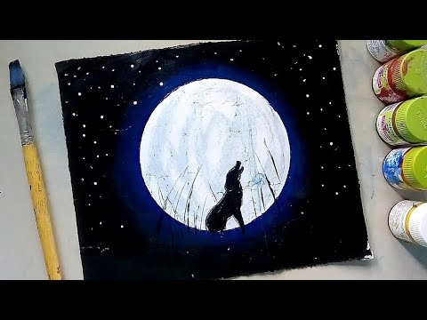 How to paint a moonlight night with poster colour 2 | very easy