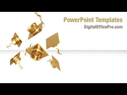 Graduation Caps PowerPoint Template Backgrounds - DigitalOfficePro
