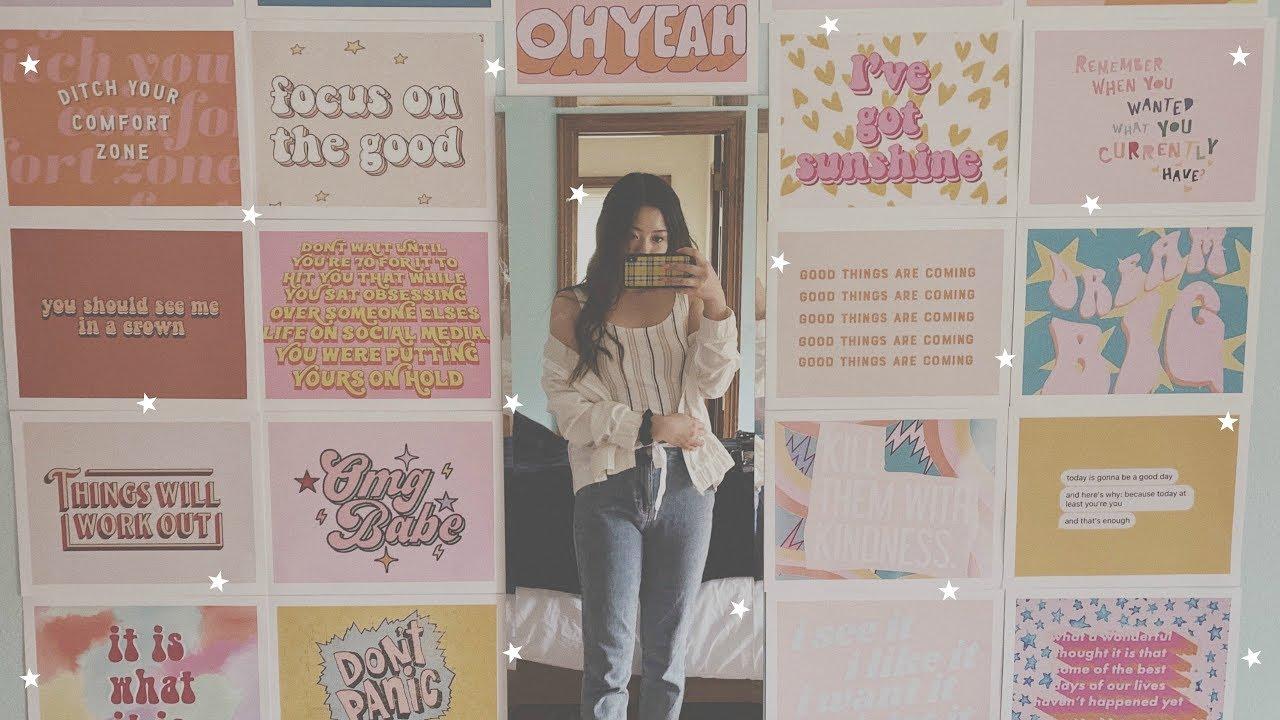 diy aesthetic mirror wall - YouTube
