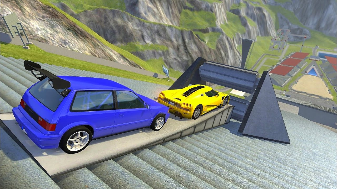 Large Roller Crushing Cars / Stairs Jumps Down (Crash Test) - BeamNG.drive Giants Machines Vs Cars