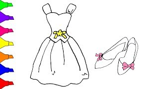 Princess Dresses Easy Drawing And Coloring Pages For Girls