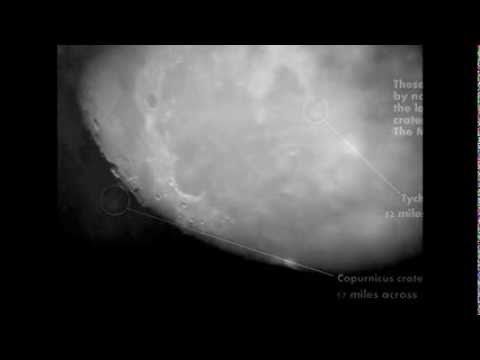 The moon as seen through a celestron powerseeker eq telescope