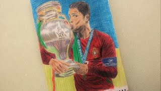 How To Draw Cristiano Ronaldo Euro 2016 Cup Portugal Drawing