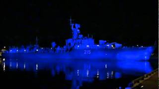 HMCS Haida illuminated at night by Canadian Heroes