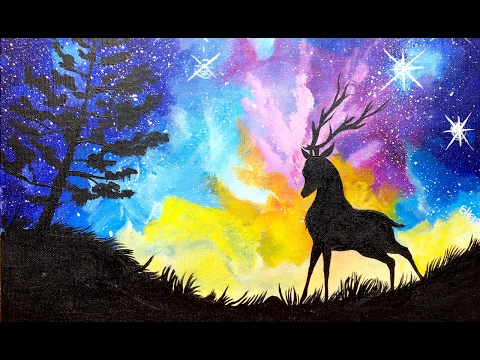 Acrylic Starry Night Sky  and STAG with Aurora Borealis Painting on Canvas for Beginners