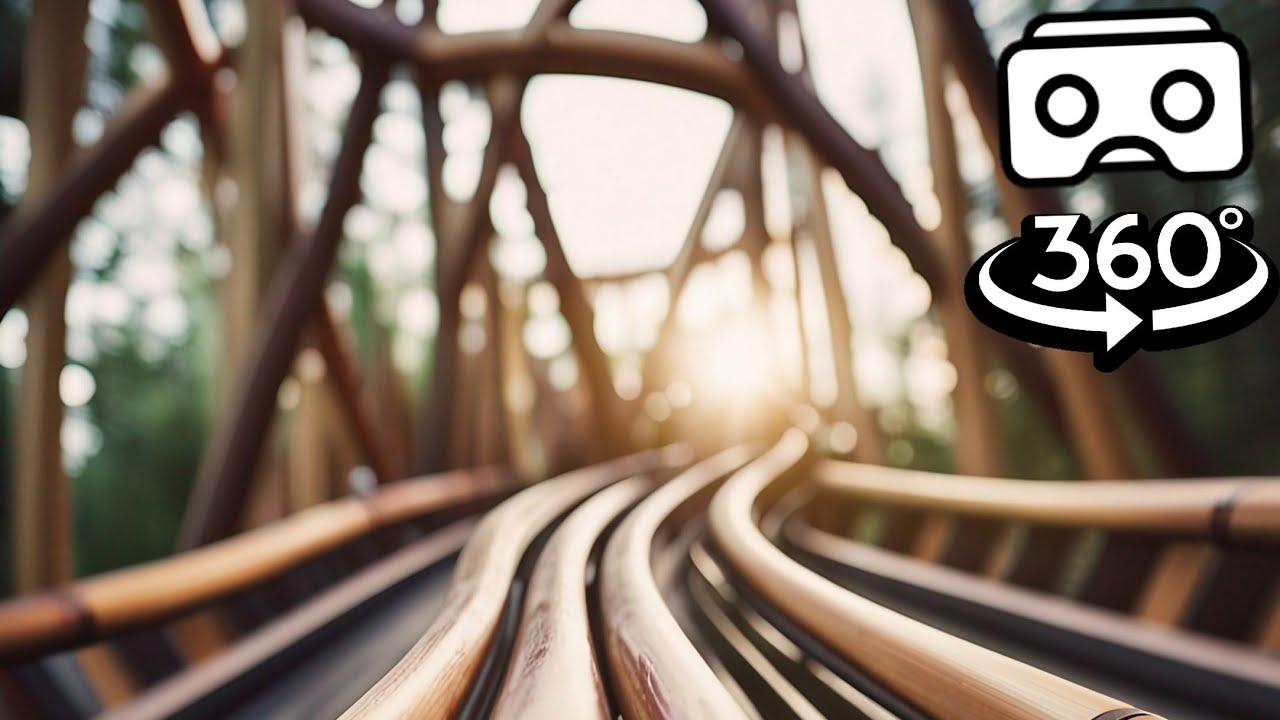 Wooden Roller Coaster VR Video 180° 3D in Forest