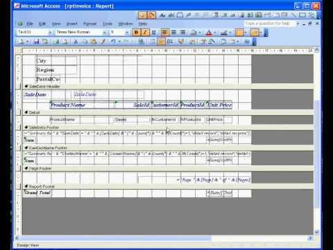 Microsoft Access ® 2003 Sales Invoice 3 Report - YouTube