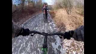 Ma fameuse montée en vélo avec mes ski dans le dos jusqu'a Saint-Sauveur !!!!