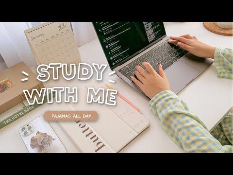 Study with me: Pajamas all day🏠 นั่งอ่านหนังสือ ทำงานด้วยกันยาวๆ ไปเล้ย (1.20 hr / with music)