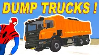 Colors Dump Trucks for Kids with Spiderman Cartoon Fun Videos for Children and Nursery Rhymes Songs