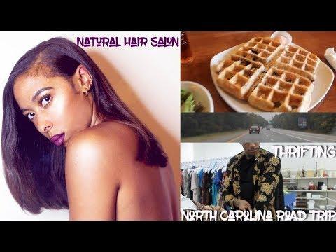 MINI VLOG: Roadtrip to North Carolina. Natural Hair Salon. Thrifting. Eating.
