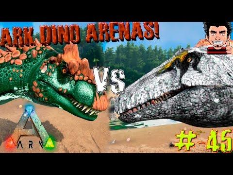 ARK Survival Evolved Allosaurus Vs Acrocanthosaurus batalla dinosaurios arena gameplay español