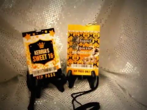 61b003bdf7d Vip Pass Sweet 16 or Quinceanera in GOLD or Black Design - YouTube