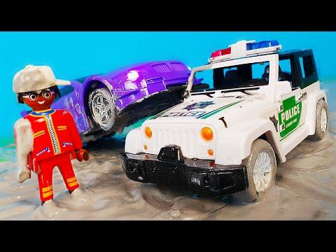 Полицейские Машинки и Петрович попали в грязь - ЧЕЛЛЕНДЖ какая машинка победит в супер гонках?