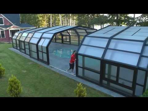 Retractable Pool Enclosure Opened By Hand Youtube