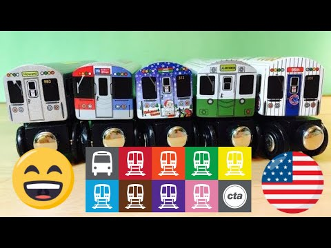 unpacking 5 different Wooden Train - CTA Chicago Transit Authority wooden toy train  (04343 z multi)